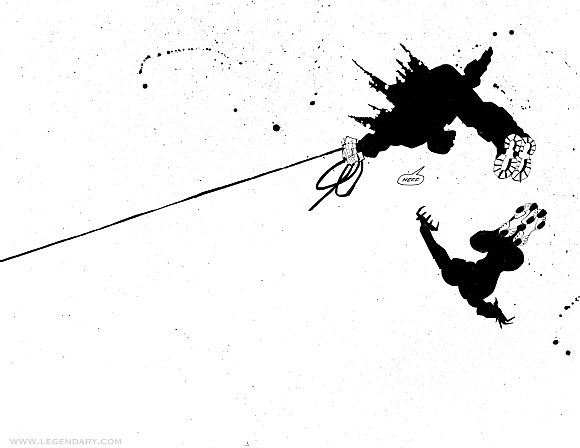 Silhouettes of two crimefighters swinging through the air